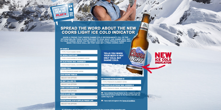 Coors launches van damme cold caller facebook app with vccp jean claude van damme features in the new coors light app mozeypictures Gallery
