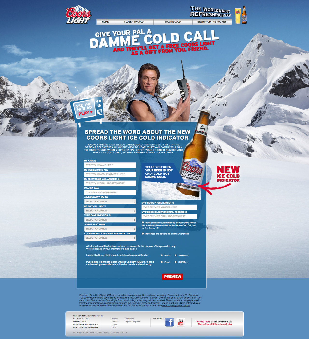 Coors launches van damme cold caller facebook app with vccp the drum mozeypictures Images