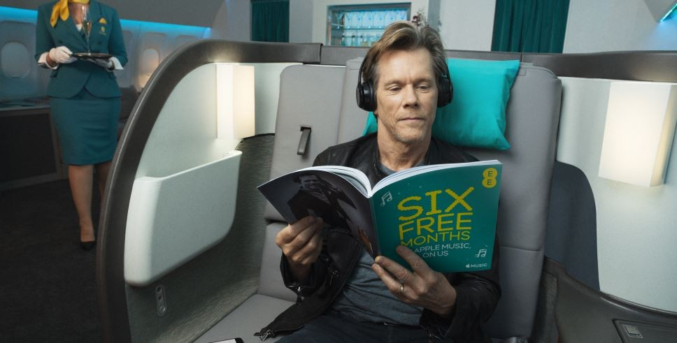 kevin bacon ee ad campaign takes flight with free apple