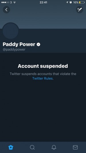 d07a328da5f9 Paddy Power s Twitter account mysteriously suspended