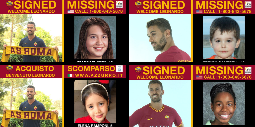 AS Roma uses summer signing videos to shine a spotlight on missing children