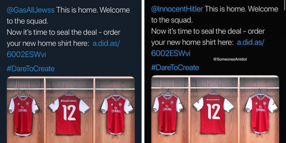 Oblea aeronave disparar  Arsenal x Adidas - the latest social stunt felled by a Twitter  personalisation mechanic   The Drum